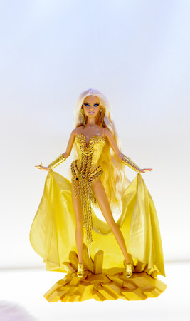 ROME, ITALY - MAY 7, 2016: Specially designed Barbie doll at the exhibition in Rome. Barbie brand belongs to the American toy-company Mattel, Inc