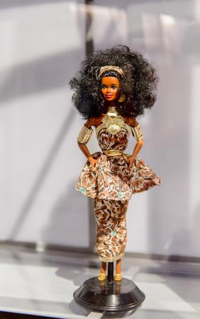 ROME, ITALY - MAY 7, 2016: Nigeria style Barbie doll at the exhibition in Rome. Barbie  brand belongs to the American toy-company Mattel, Inc