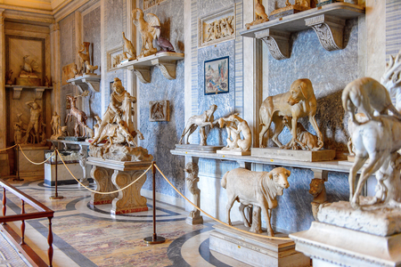 VATICAN, VATICAN CITY - MAY 7, 2016: Interior of the Vatican Museum. It was established in 1506 Sajtókép