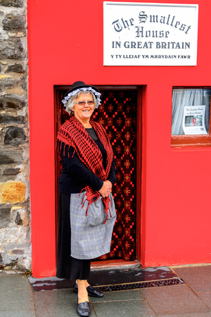 CONWY, WALES - JULY 11, 2016: Smallest House in Great Britain, Conwy, Wales. It was used as a residence from the 16th century until 1900