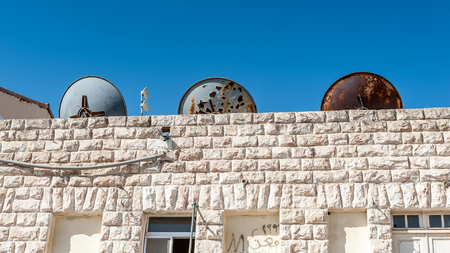 MADABA, JORDAN - APR 28, 2014: Architecture in  Madaba, Jordan. Madaba dates from the Middle Bronze Age and called The City of Mosaics