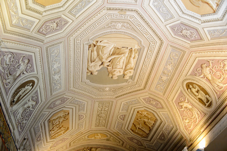 VATICAN, VATICAN CITY - MAY 7, 2016: Interior of the Vatican Museum. It was established in 1506 Redakční