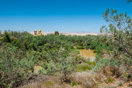 BAPTISM SITE, JORDAN - MAY 1, 2014: River Jordan, Baptised Site, Jordan. In this river Jesus of Nazareth was baptized by John the Baptist.