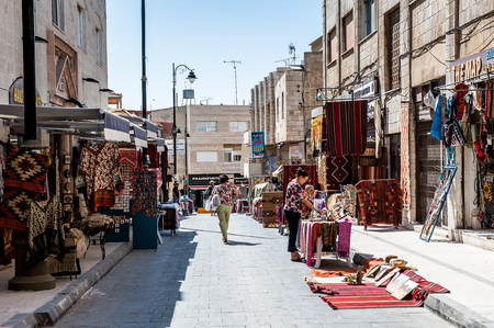 MADABA, JORDAN - APR 28, 2014: Souvenirs street in Madaba, Jordan. Madaba dates from the Middle Bronze Age and called The City of Mosaics