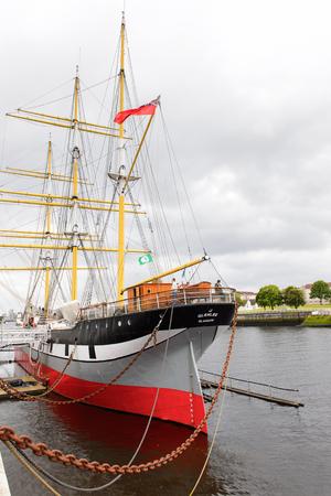 GLASGOW, SCOTLAND - JULY 16, 2016: Tall Ship Glenlee from Govan, Riverside Museum, Glasgow Museum of Transport.