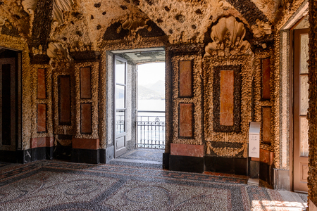ISOLA BELLA, ITALY - MAY 3, 3016:Ground floor of the Palace Borromeo on the Isola Bella. Borromeo is the important family from Milan