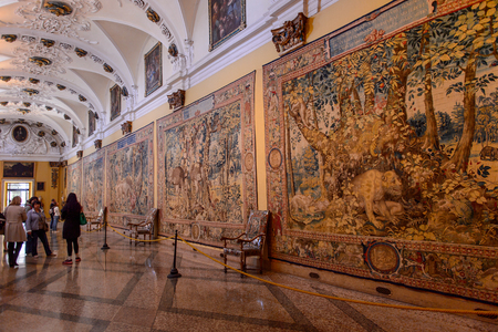 ISOLA BELLA, ITALY - MAY 3, 3016: Interior of the Palace Borromeo on the Isola Bella. Borromeo is the important family from Milan