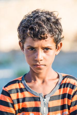 SOCOTRA, YEMEN - JAN 15, 2014: Unidentified Yemeni boys portrait from the Socotra Archipelago. Children on the  Socotra Archipelago grow without education