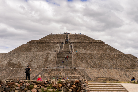 TEOTIUCAN, MEXICO - OCT 27, 2016: Sun Pyramid (Piramide del Sol) of Teotihuacan, it was an ancient Mesoamerican city. UNESCO World Heritage Editorial