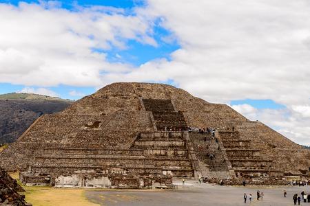 TEOTIUCAN, MEXICO - OCT 27, 2016: Moon Pyramid (Piramide de Luna) of Teotihuacan, site of many Mesoamerican pyramids built in the pre-Columbian Americas. UNESCO World Heritage