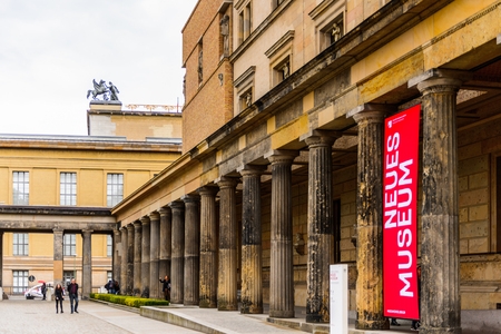 BERLIN, GERMANY - APR 30, 2015: Museum Island which includes Alte Nationalgalerie (Old National Gallery), Altes museum (Old museum), Bode, Pergamon, Neues museum (New museum). UNESCO World Heritage