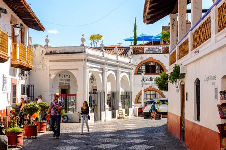 TAXCO, MEXICO - OCT 28, 2016: Beautiful architecture of Taxco, Mexico. The town is known because of its Silver products
