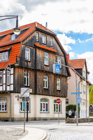 WERNIGERODE, GERMANY - MAY 4, 2015: Colorful houses in Wernigerode, Germany. Wernigerode was the capital of the district of Wernigerode until 2007 Éditoriale
