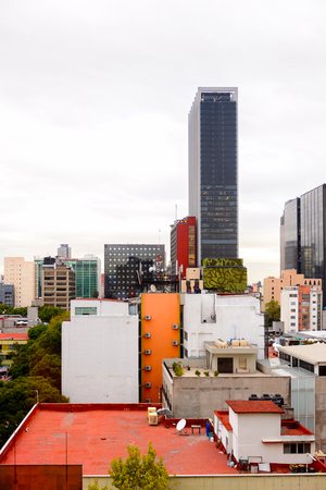 MEXICO CITY, MEX - OCT 27, 2016: Architecture of the Zone Rosa (Pink Zone) of Mexico City, DF, Zona Rosa is a neighborhood famous for its shopping, nightlife, gay community