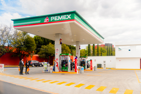 PUEBLA, MEXICO - OCT 30, 2016: Pemex gazoline station in Puebla, Mexico. The city was founded in 1531 in an area called Cuetlaxcoapan Sajtókép