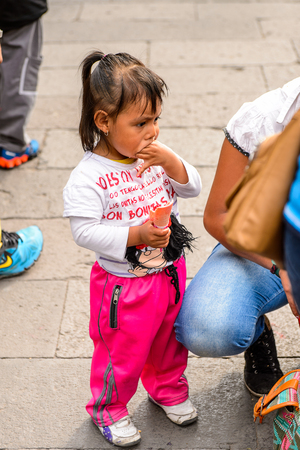 PUEBLA, MEXICO - OCT 30, 2016: Unidentified girl dressed for the Day of the Dead (Dia de los Muertos), national Mexican holiday, UNESCO Intangible Cultural Heritage of Humanity Editorial