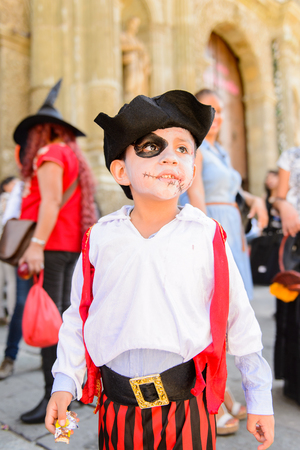 OAXACA, MEXICO - OCT 31, 2016: Unidentified boy dressed a pirate for the Day of the Dead (Dia de los Muertos), national Mexican holiday, UNESCO Intangible Cultural Heritage of Humanity