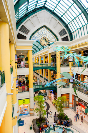 LISBON, PORTUGAL - OCT 17, 2016: Interior of the Centro Colombo, a famous shopping centre in Lisbon. It opened on 15 September 1997