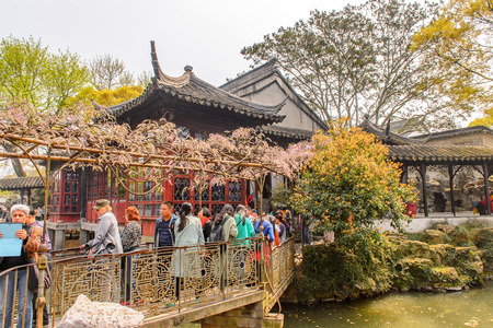 SUZHOU, CHINA - APR 1, 2016: Nature of the The Humble Administrator's Garden,  a Chinese garden in Suzhou, a UNESCO World Heritage Site