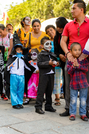 OAXACA, MEXICO - OCT 31, 2016: Unidentified boy dressed as a skeleton for the Day of the Dead (Dia de los Muertos), national Mexican holiday, UNESCO Intangible Cultural Heritage of Humanity Editorial