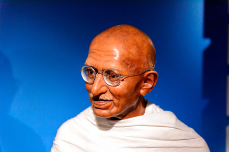 AMSTERDAM, NETHERLANDS - OCT 26, 2016: Ghandi, Madame Tussauds wax museum in Amsterdam. One of the popular touristic attractions