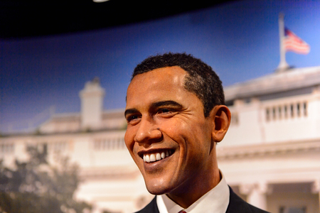 AMSTERDAM, NETHERLANDS - OCT 26, 2016: Barack Obama, 44th president of USA, Madame Tussauds wax museum in Amsterdam. One of the popular touristic attractions