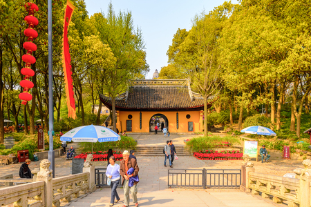 SUZHOU, CHINA - APR 1, 2016: TIger hill sight in Suzhou, China. It is known for its natural beauty as well as historical sites. Editorial