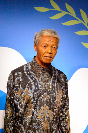 AMSTERDAM, NETHERLANDS - OCT 26, 2016: Nelson Mandela, Madame Tussauds wax museum in Amsterdam. One of the popular touristic attractions