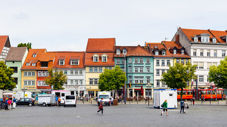 ERFURT, GERMANY  - JUN 16, 2014: Main market square of Erfurt, Germany. Erfurt is the Capital of Thuringia and the city was first mentioned in 742