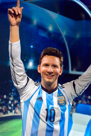 AMSTERDAM, NETHERLANDS - OCT 26, 2016: Leonel Leo Messi, FC Barcelona and Argentina national teap footballer, Madame Tussauds wax museum in Amsterdam. One of the popular touristic attractions Editorial