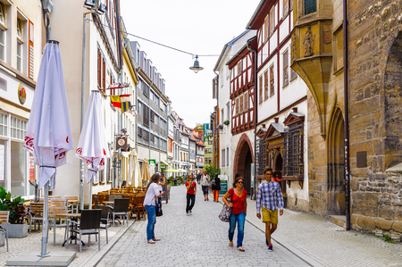 ERFURT, GERMANY  - JUN 16, 2014:  Architecture of the central streets of the city of Erfurt, Germany. Erfurt is the Capital of Thuringia and the city was first mentioned in 742 Editorial