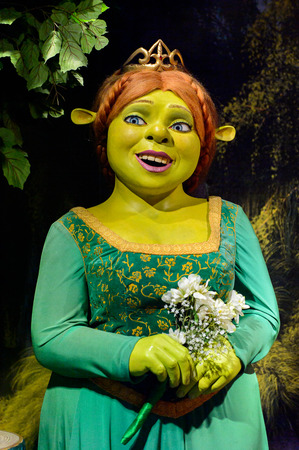 AMSTERDAM, NETHERLANDS - OCT 26, 2016: Fiona from the Shrek movie, Madame Tussauds wax museum in Amsterdam. One of the popular touristic attractions