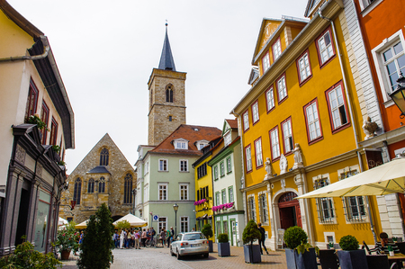 ERFURT, GERMANY  - JUN 16, 2014: St Giles' Church at Wenigenmarkt Square of the city of Erfurt, Germany. Erfurt is the Capital of Thuringia and the city was first mentioned in 742