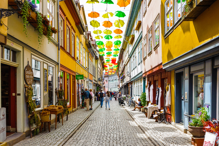 ERFURT, GERMANY  - JUN 16, 2014: The Umbrella street of the city of Erfurt, Germany. Erfurt is the Capital of Thuringia and the city was first mentioned in 742 Editorial