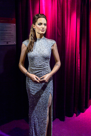 AMSTERDAM, NETHERLANDS - OCT 26, 2016: Angelina Jolie, American actress, filmmaker and humanitarian,  Madame Tussauds wax museum in Amsterdam. One of the popular touristic attractions