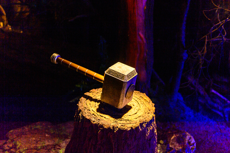 AMSTERDAM, NETHERLANDS - OCT 26, 2016: Thors Hammer, Marvel section, Madame Tussauds wax museum in Amsterdam. One of the popular touristic attractions