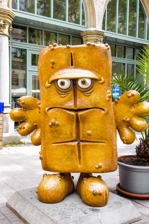 ERFURT, GERMANY  - JUN 16, 2014: Spunch Bob statue of the city of Erfurt, Germany. Erfurt is the Capital of Thuringia and the city was first mentioned in 742