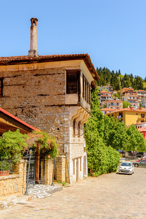 KASTORIA, GREECE - APR 21, 2016: Architecture of Kastoria, West Macedonia, Greece.  The town is known for its many Byzantine churches, Ottoman-era architecture Editorial