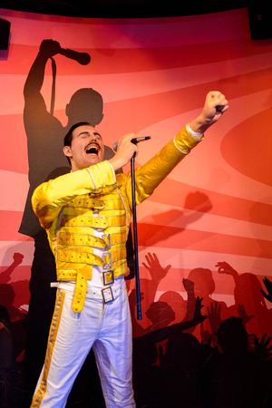 AMSTERDAM, NETHERLANDS - OCT 26, 2016: Freddy Mercury, Madame Tussauds wax museum in Amsterdam. One of the popular touristic attractions Redakční
