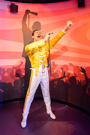 AMSTERDAM, NETHERLANDS - OCT 26, 2016: Freddy Mercury, Madame Tussauds wax museum in Amsterdam. One of the popular touristic attractions Editorial