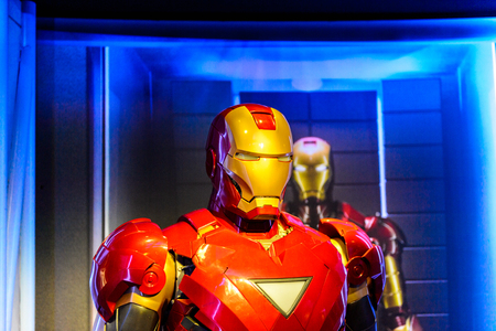 AMSTERDAM, NETHERLANDS - OCT 26, 2016: Tony Stark, the Iron Man, Marvel section, Madame Tussauds wax museum in Amsterdam. One of the popular touristic attractions