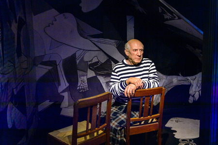 AMSTERDAM, NETHERLANDS - OCT 26, 2016: Pablo Picasso, Spanish painter, sculptor, printmaker, ceramicist, Madame Tussauds wax museum in Amsterdam. One of the popular touristic attractions