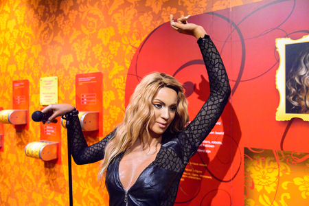 AMSTERDAM, NETHERLANDS - OCT 26, 2016: Beyonce Knowles, Madame Tussauds wax museum in Amsterdam. One of the popular touristic attractions