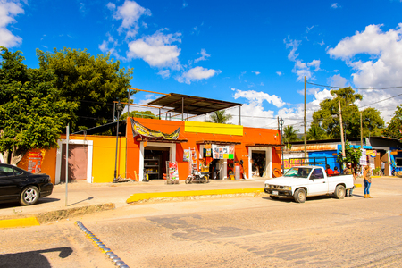 SANTA MARIA DEL TULE, MEXICO - OCT 31, 2016: Architecture of Santa Maria del Tule, Mexico, Valles Centrales region. The name comes from the Nahuatl word tulle which means bulrush