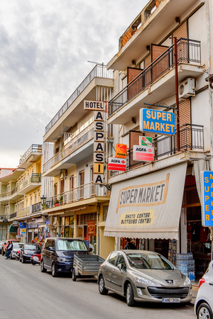 DELPHI, GREECE -APR 22, 2016: Architecture of the small town near the Delphi Archaeological Site. This town is the best way to spend night before visiting Archaeological Park.