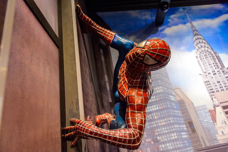 AMSTERDAM, NETHERLANDS - JUN 1, 2015: Spiderman in the Madame Tussauds museum in Amsterdam. Spider man is a fictional character created by Stan Lee Publikacyjne