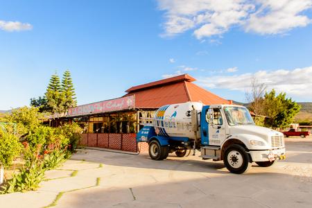 OAXACA, MEXICO - NOV 1, 2016: Gas car near the Restaurant La Choza del Chef in Oaxaca, the place with national Mexican food Editorial