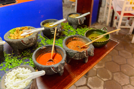OAXACA, MEXICO - NOV 1, 2016: Ingridients in the Restaurant La Choza del Chef in Oaxaca, the place with national Mexican food