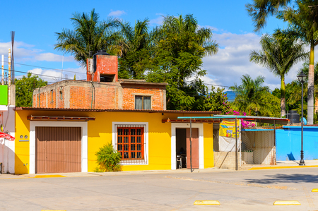 SANTA MARIA DEL TULE, MEXICO - OCT 31, 2016: Beautiful view of a street in Santa Maria del Tule, Mexico, Valles Centrales region. The name comes from the Nahuatl word tulle which means bulrush