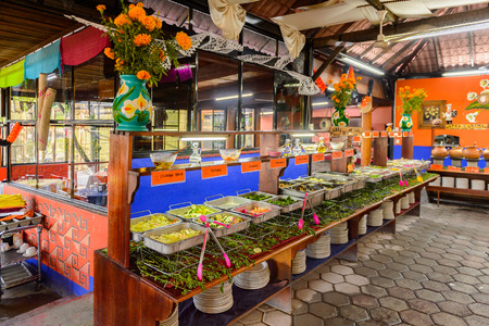 OAXACA, MEXICO - NOV 1, 2016: Vegetables and salads in the Restaurant La Choza del Chef in Oaxaca, the place with national Mexican food Editorial
